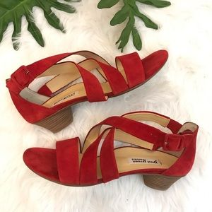 Paul Green | Lupe red suede Strappy sandal heel